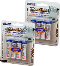HIGH CAPACITY BATTERIES/Set of 8 NIMH Rechargeable AA batteries 2000mAhr.