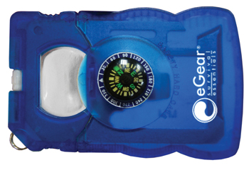 SURVIVAL CARD TOOL/LIQUID FILLED COMPASS/MAGNIFIER/CAN AND BOTTLE OPENER/SCREWDRIVER/WRENCH/STRIKER/KNIFE EDGE
