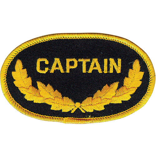 "Embroidered Emblem Patch | Oval, ""Captain"", Black/Yellow, 3.5in"