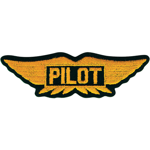 "Embroidered Emblem Patch | Wings, ""Pilot"", Black/Yellow, 6in."