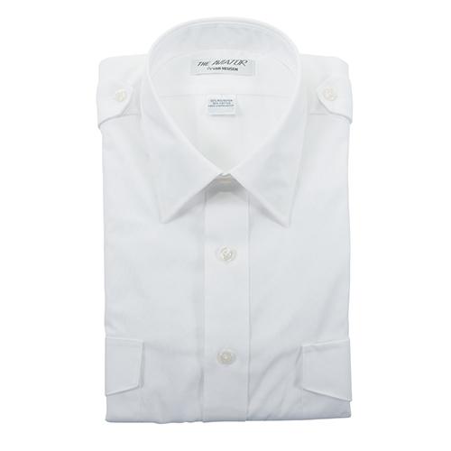 Aviator Dress Shirt | Men's, Size 14.5, White, Short Sleeve