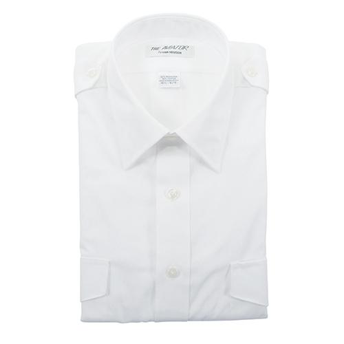 Aviator Dress Shirt | Men's, Size 17.5, White, Short Sleeve