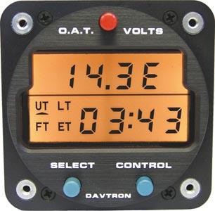 M803 Digital Clock Chronometer, O.A.T., Voltage Gauge | 28V Orange Lighting