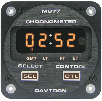 CHRONOMETER/LED Digital clock with 28V illuminating buttons. Displays Universal time, Local time, Flight time, and Elapsed time. 2 1/4 internal mount.  2-button control, Sunlight readable, Automatic dimming.