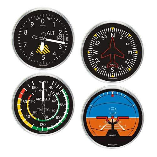 Cockpit Instrument Style Drink Coasters | Round, Set of 4