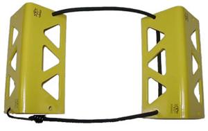 TRAVEL CHOCKS/8/Yellow. Heat-treated, powder coat finish. Medium, for 6.0 x 6.0 tire size