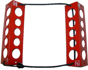 TRAVEL CHOCKS/8/Red. Heat-treated, powder coat finish. Medium, for 6.0 x 6.0 tire size