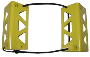TRAVEL CHOCKS/6/Yellow. Heat-treated, powder coat finish. Small for wheel 5.500 or smaller.
