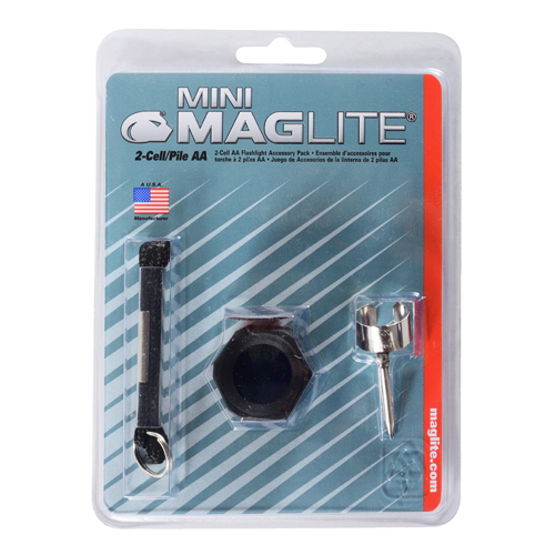 ACCESSORY PACK/For use with Mini Mag-Lite flashlight. Includes: pocket clip, lanyard wrist strap with key ring, lens holder and red, clear and blue lenses.