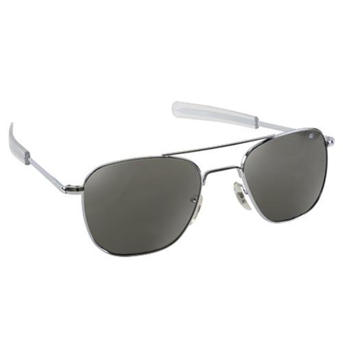 Original Pilot Sunglasses   Silver Frame, True Color Grey Lenses, Clear Bayonet, 52mm
