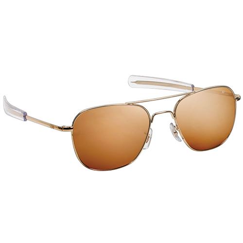 Original Pilot Sunglasses   Gold Frame, High Contrast Amber Polycarbonate Lenses, 57 mm