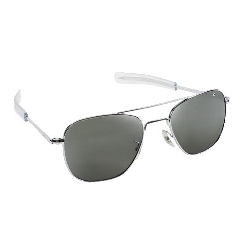 Original Pilot Sunglasses | Silver Frame, Gray Glass Lenses, Clear Bayonet, 57mm