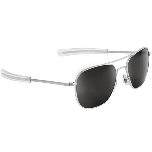 Original Pilot Sunglasses   Matte Chrome Frame, True Color Grey Lenses, Clear Bayonet, 57mm