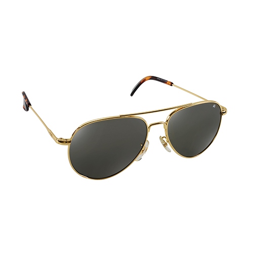 General Pilot Sunglasses   Gold, Gray Glass Lenses, 58mm