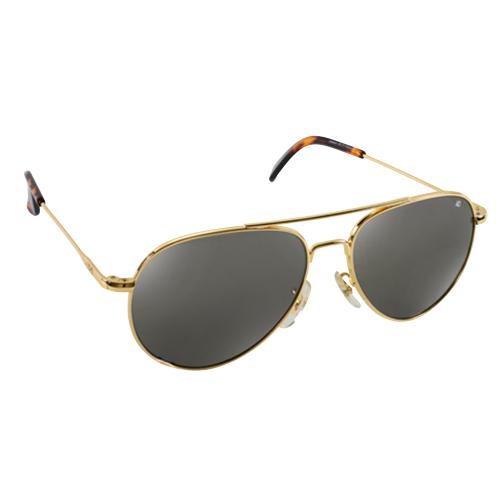General Pilot Sunglasses | Gold Frame, True Color Grey Lenses, 52mm