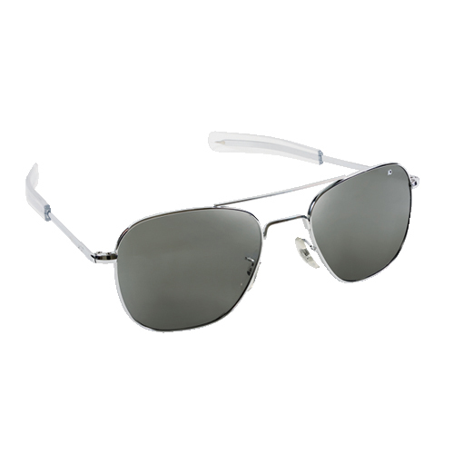 Original Pilot Sunglasses | Silver Frame, True Color Polarized Lenses, Clear Bayonet, 52mm