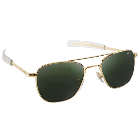 Original Pilot Sunglasses | Gold Frame, True Color Green Lenses, Clear Bayonet, 57mm