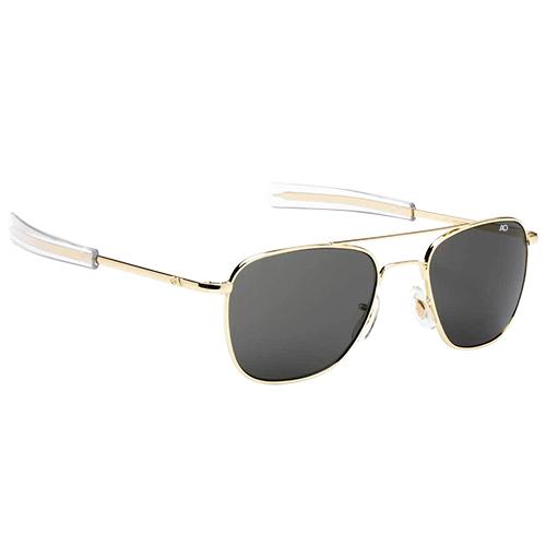 Original Pilot Sunglasses   Gold Frame, Gray Glass Lenses, Clear Bayonet, 57mm