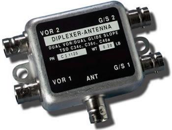 Dual VOR & Glide Slope Diplexer | BNC Connector 108-118 MHz & 329-335 MHz, 50 Ohms