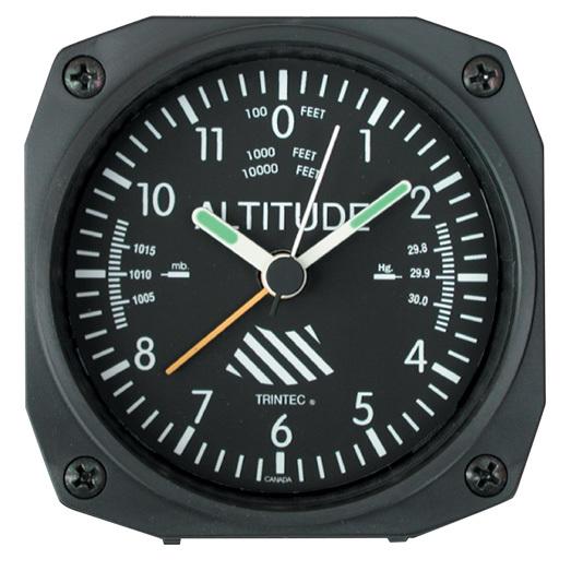 DESK ALARM CLOCK/Altimeter. Dimensions: 3.5 x 3.5 x 1.5
