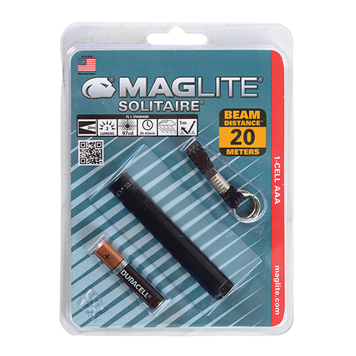 MAG-LITE SOLITAIRE FLASHLIGHT HANG PACK/Black, includes: flashlight, key chain and 1 ea AAA alkaline battery.