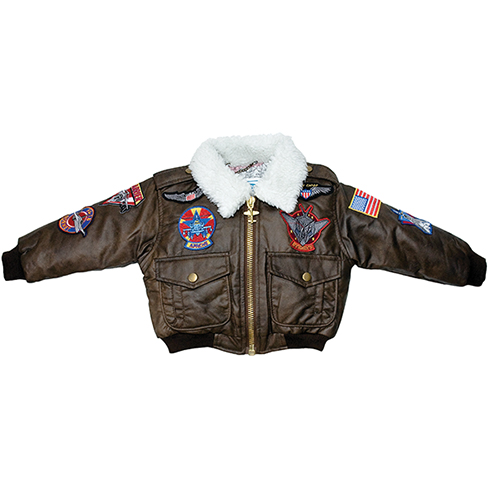 Youth Bomber Jacket | Brown, Simulated Leather, With Patches, Kids 4-5