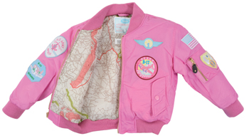 Youth MA-1 Flight Jacket | Pink, Nylon, With Patches, Kids-3