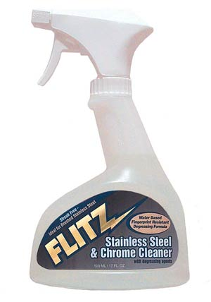 STAINLESS STEEL and CHROME CLEANER/With degreaser 17 oz plastic trigger spray bottle.