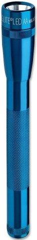 MINI MAG-LITE LED FLASHLIGHT/Blue, includes: flashlight, polypropylene holster and 2 AA alkaline batteries.